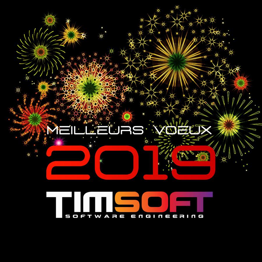 Timsoft, prestataire informatique basé à Paris, vous souhaite une excellente année 2019!